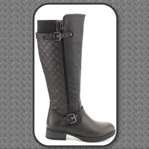 New! Margo Black Quilted Knee High Moto Ridin Boot